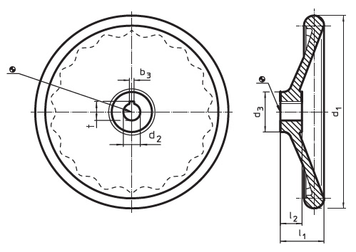 EH 24570.0304 Disc-Type Handwheels, DIN 3670, d2 large, without steel bushing, with keyway, form N Parameter drawing 2D