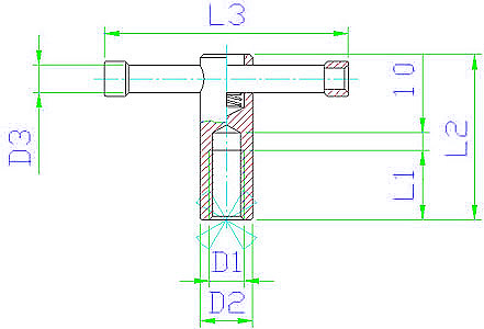 EH 24510.0708 Tommy Nuts, DIN 6307, with moveable pin Parameter drawing 2D