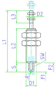 EH 25020.0008 Sensing Elements with actuating bolt, protected against rotating, tip, round Parameter drawing 2D