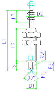 EH 25020.0058 Sensing Elements with actuating bolt, protected against rotating, tip, pointed Parameter drawing 2D