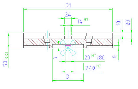 EH 1102.100 Base Plate Round Parameter drawing 2D