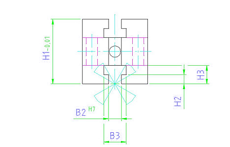 EH 1110.100 Mounting Block Cube Parameter drawing 2D
