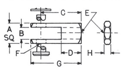 Rod Clevis Cylinder Accessory Dimensional drawing 2D