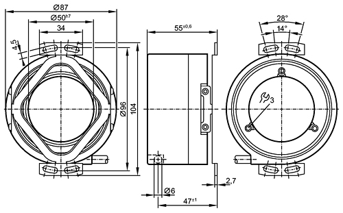 Hollow shaft encoder TTL output 20 mA Dimensional drawing 2D