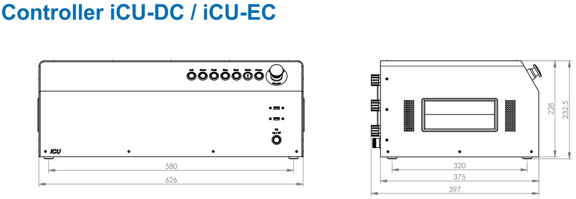 Multiple axis controller iCU DC (brush-type DC servomotors), 2 axes Dimensional drawing 2D
