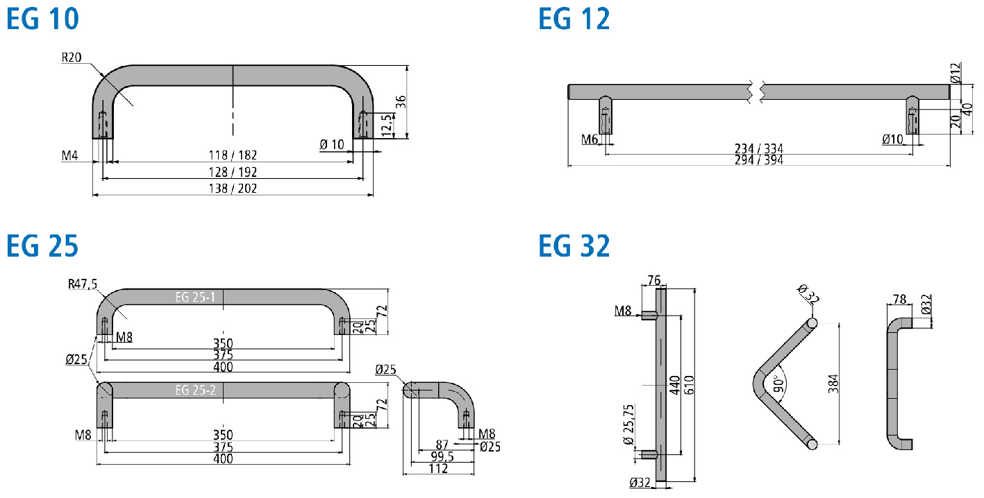 Stainless steel handle EG 10-1 Dimensional drawing 2D