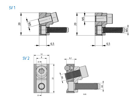 Clamping connector obliquely SV1 Dimensional drawing 2D