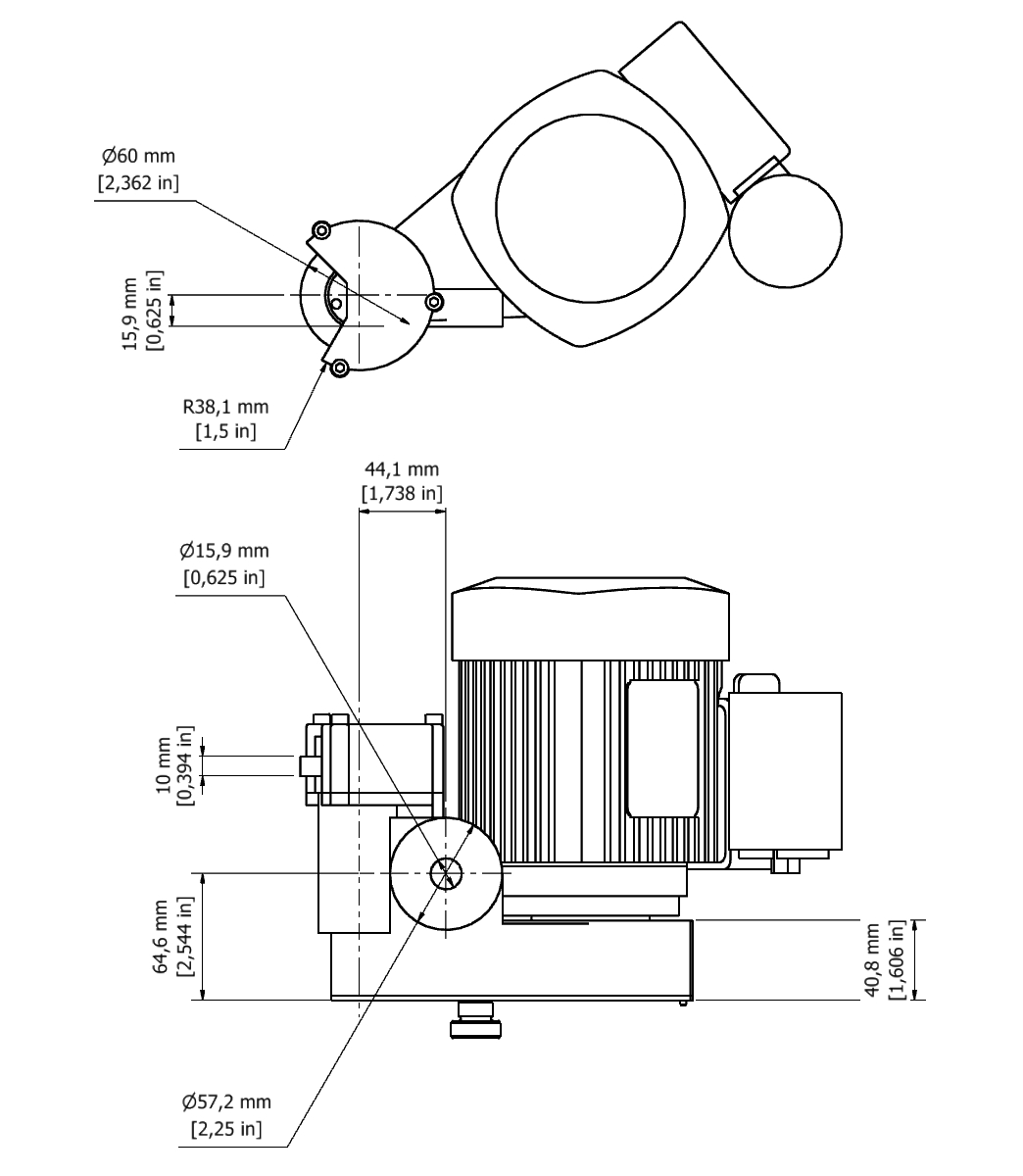 D 26 TPG Spindle Dimensional drawing 2D