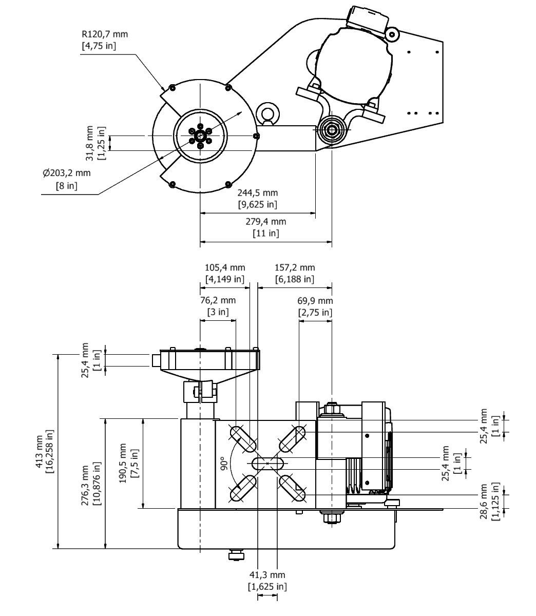 D 31A TPG Spindle Dimensional drawing 2D