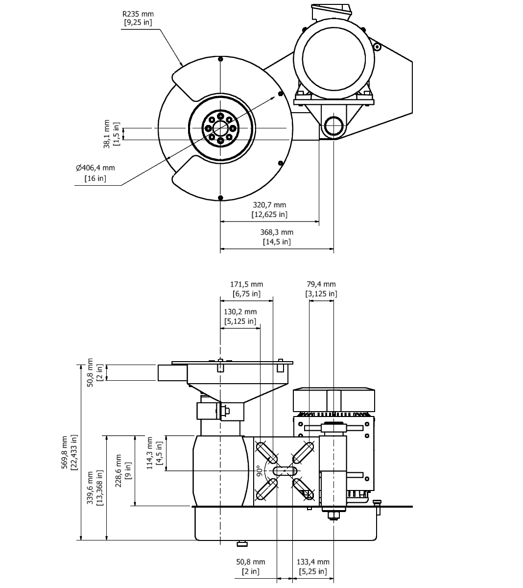 D 35A TPG Spindle Dimensional drawing 2D