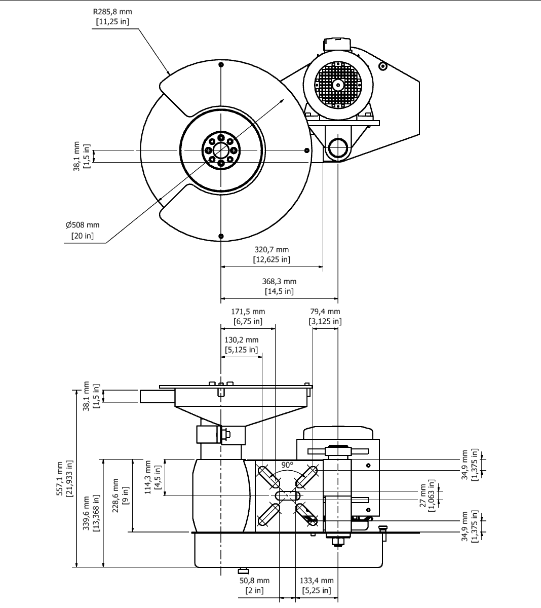 D 35B TPG Spindle Dimensional drawing 2D