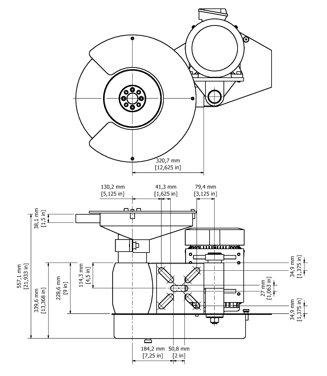 D 35D TPG Spindle Dimensional drawing 2D