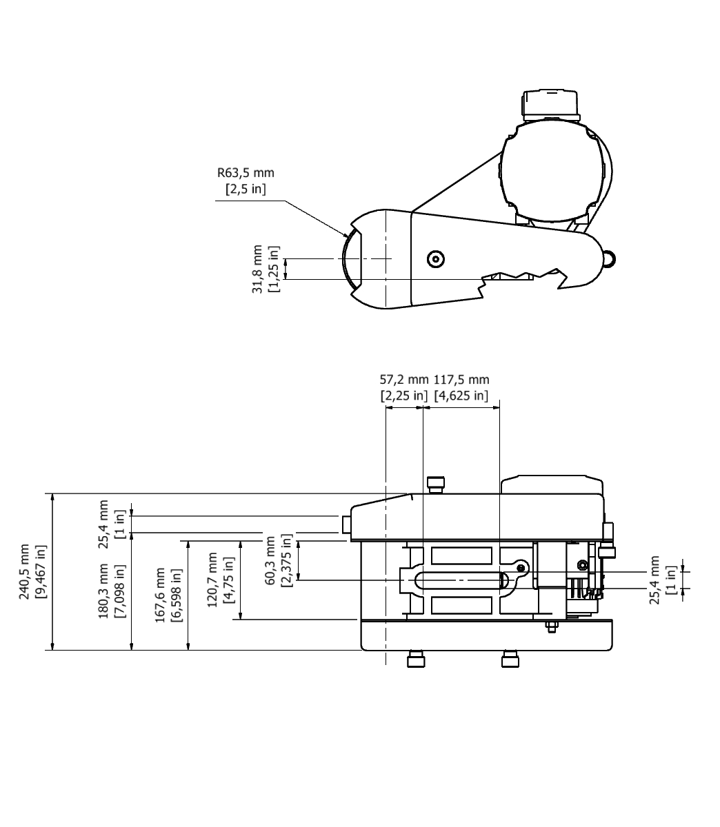 D 501 TPG Spindle Dimensional drawing 2D