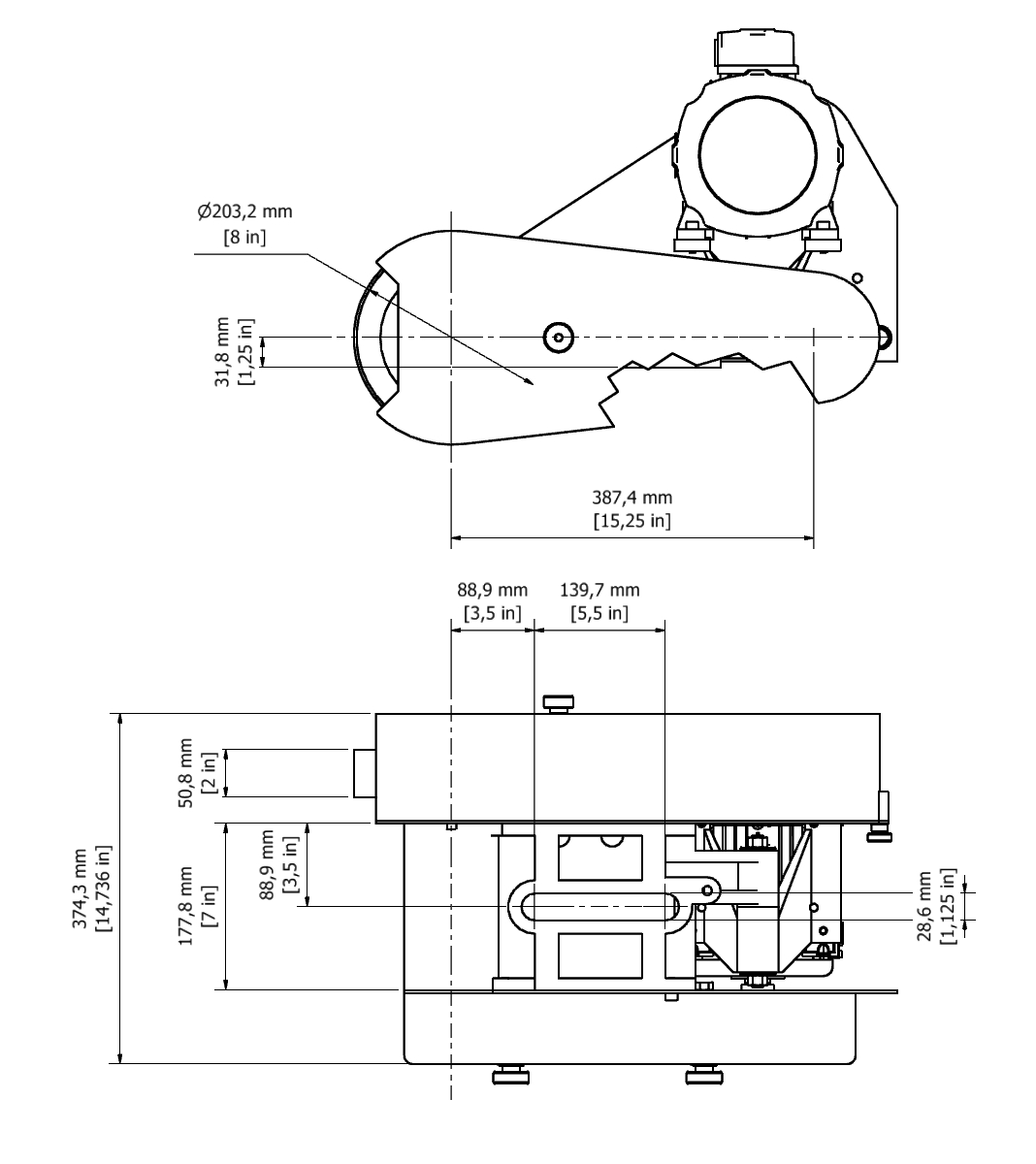 D 802 TPG Spindle Dimensional drawing 2D
