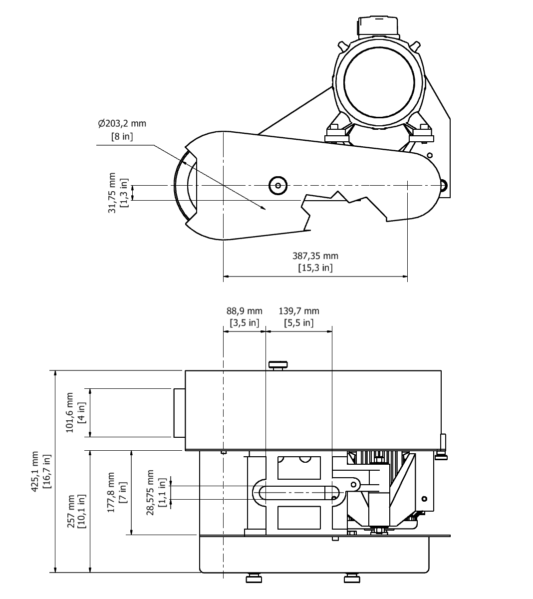 D 804 TPG Spindle Dimensional drawing 2D