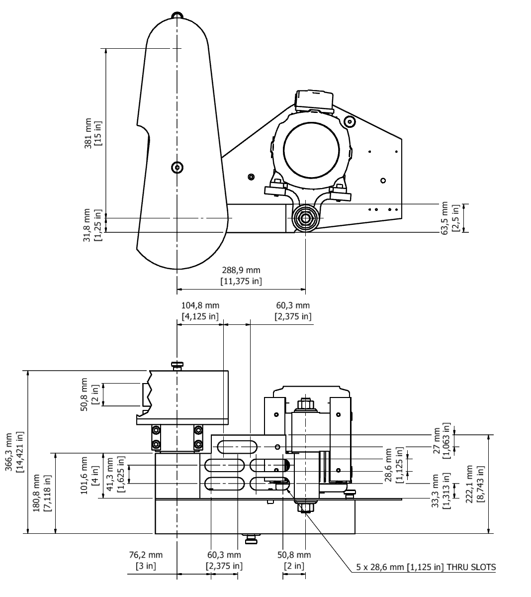 D 802F TPG Spindle Dimensional drawing 2D