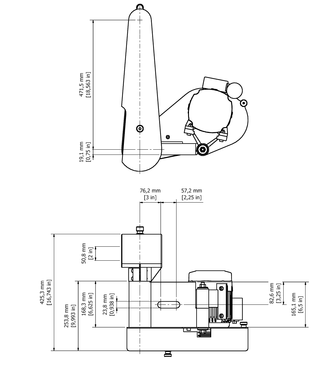 D 502F TPG Spindle Dimensional drawing 2D