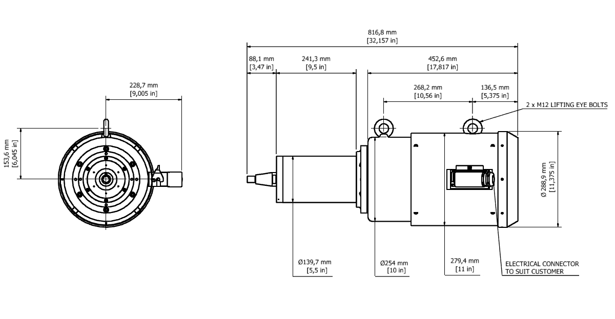 MGS 1207AP Spindle Dimensional drawing 2D