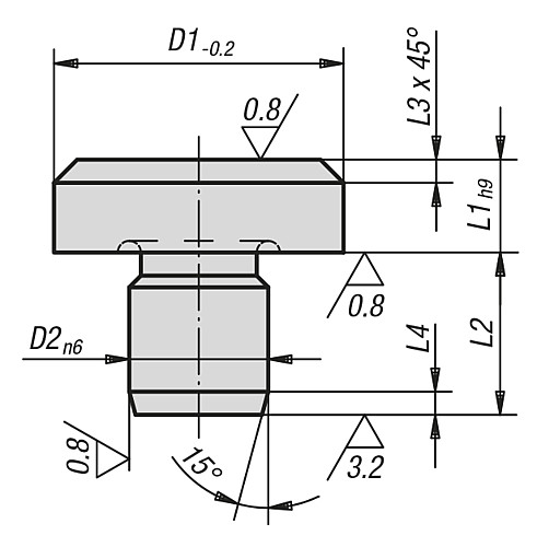 REST PAD DIN6321 TOOL STEEL, D1=6, D2=4 technical drawing 2D