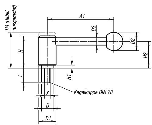 TENSION LEVER M08X15 SIZE:1 STEEL, FORM:0°, COMP:PLASTIC technical drawing 2D