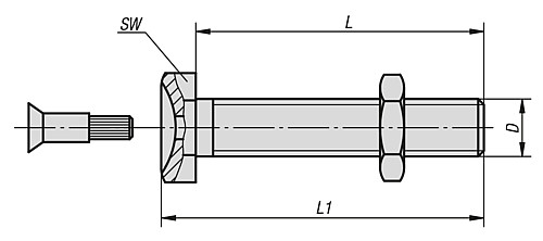 THREADED SPINDLE M08X25 technical drawing 2D