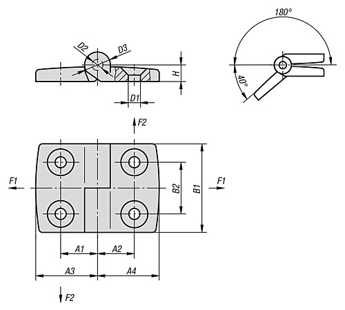 HINGE LIFT-OFF B1=48 THERMOPLASTIC, RIGHT, COMP:STAINLESS STEEL, A3=26, A4=26, A1=15, A2=15 technical drawing 2D