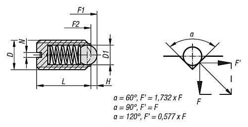 SPRING PLUNGER STANDARD SPRING FORCE M03 L=7 STAINLESS STEEL, COMP:BALL STAINLESS STEEL, PU=10 technical drawing 2D