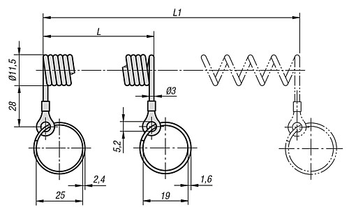 RETAINING SPIRAL CABLE L=100 POLYURETHANE, COMP:STEEL technical drawing 2D