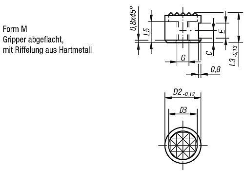 GRIPPERS AND INSERTS ROUND D2=10 TOOL STEEL, FORM:M, COMP:CARBIDE technical drawing 2D