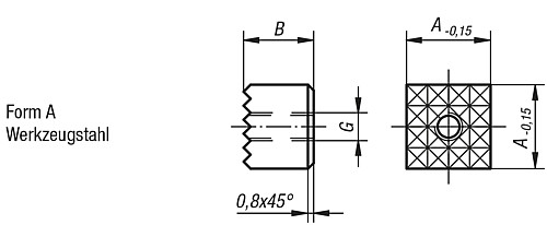 GRIPPER SQUARE M05 TOOL STEEL, FORM:A, A=10 technical drawing 2D