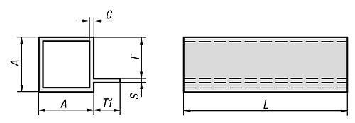 SQUARE TUBE technical drawing 2D