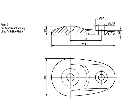 PLATE PLASTIC, FORM:C technical drawing 2D