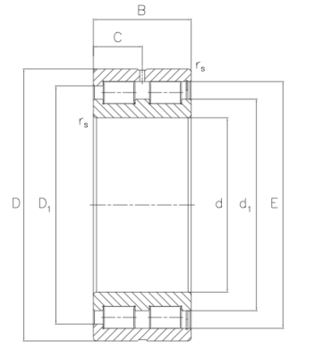 MRCF: Radial cylindrical roller bearing, full complement, back bearing Dimensioned drawing 2D
