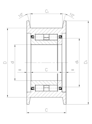 Chain pulley, heavy application Dimensioned drawing 2D