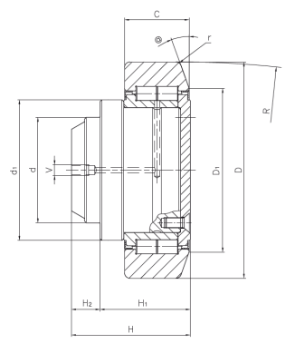 Radial bearing with stud for steel sections (ZZ execution) Dimensioned drawing 2D
