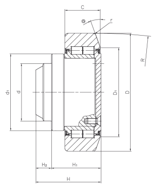 Radial bearing with stud for steel sections (ZRS execution) Dimensioned drawing 2D