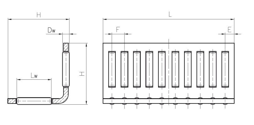 Needle roller linear cages in angled sections Dimensioned drawing 2D