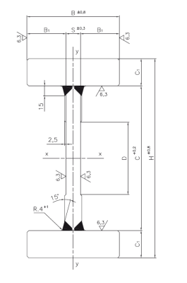 Composed sections for heavy load masts Dimensioned drawing 2D