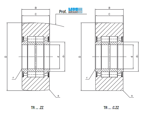 Yoke type track roller Dimensioned drawing 2D