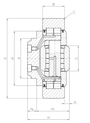 Combined bearing for high loads Dimensioned drawing 2D