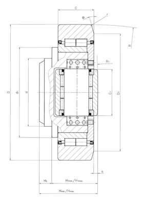 Combined bearing for heavy loads adjustable from outside for steel sections Dimensioned drawing 2D