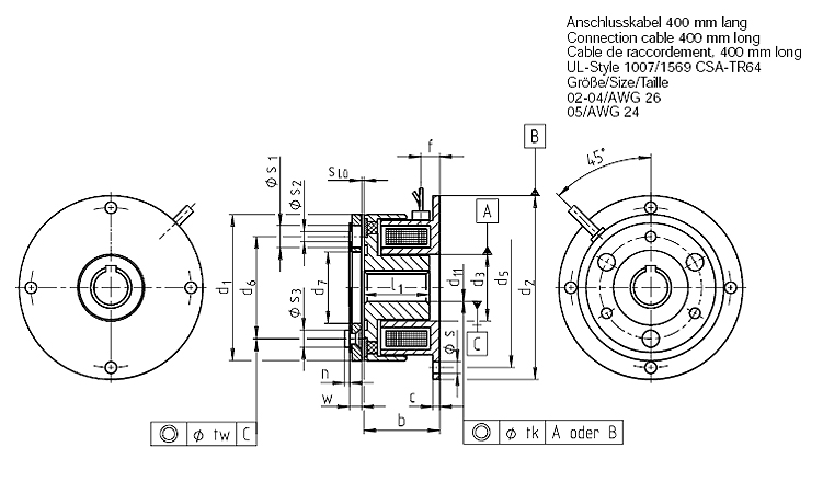 Electromagnetic clutches 0.6 – 3.6 Nm, Flange-mounted clutch, Type 14.100.--.113 Dimensional drawing 2D