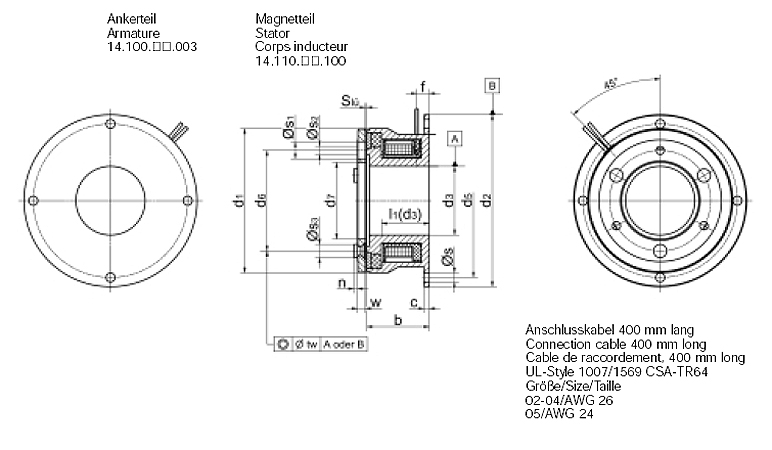 Electromagnetic brakes 0.6 – 4.5 Nm, Type 14.110.--.103 Dimensional drawing 2D