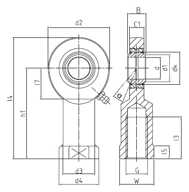 DURBAL DSI...E / DSI...ES (-2RS) standard-rod ends with pressed spherical plain bearing, series E, female thread, according to DIN ISO 12240-4, d = 6 mm, right hand thread Dimensional drawing 2D