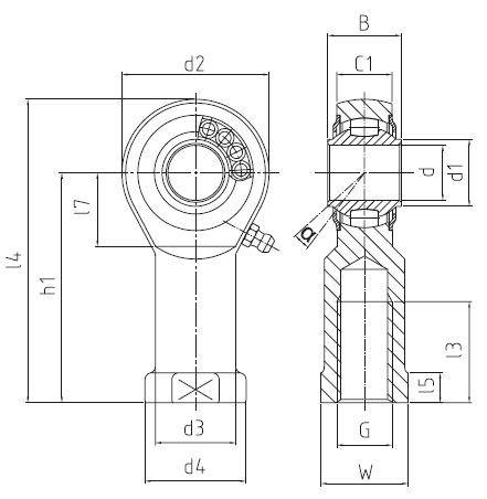 DURBAL BRTF - VR heavy-duty rod ends with integral self-aligning roller bearing, series K, female thread, according to DIN ISO 12240-4, full complement design, d = 10 mm, right hand thread Dimensional drawing 2D