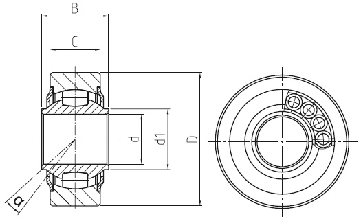 DURBAL WLT heavy-duty spherical bearings with integral self-aligning roller bearing, cage design, d = 10 mm Dimensional drawing 2D
