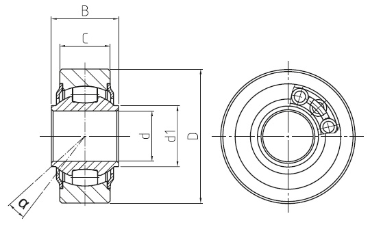 DURBAL WLT - Niro heavy-duty spherical bearings with integral self-aligning roller bearing, cage design Stainless steel, d = 10 mm Dimensional drawing 2D