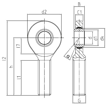 DURBAL EM heavy-duty rod ends with integral spherical plain bearing, series E, male thread, according to DIN ISO 12240-4, d = 6 mm, right hand thread Dimensional drawing 2D