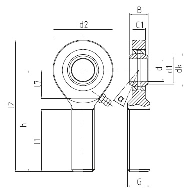 DURBAL EMN-2RS heavy-duty rod ends with pressed spherical plain bearing, series E / EH, male thread, according to DIN ISO 12240-4, d = 15 mm, right hand thread Dimensional drawing 2D