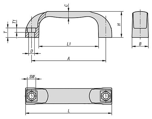 PULL HANDLE ANTISTATIC THERMOPLASTIC, BLACK RAL9011, A=117, D=9 technical drawing 2D